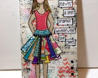 Inspirational Girl Art, Girl painted sign, Heartfelt Girl