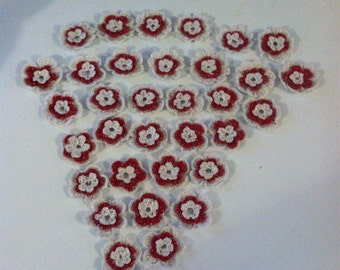 White and red applique flowers