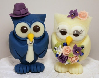 """Owl wedding cake topper, BIGGER love birds more than 4"""" tall, with banner"""