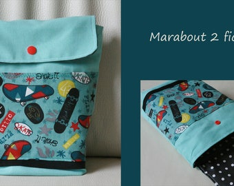 """Snack bag child """"roll on skateboard"""" waterproof cotton sky blue and gray"""