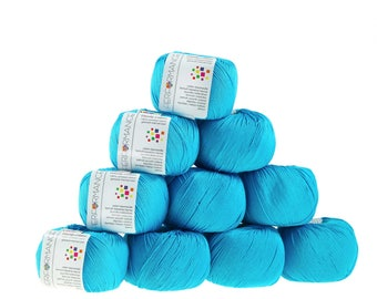 10 x 50g knitted yarn Dainty cotton, #124 Turquoise