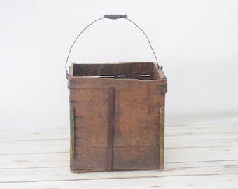 Antique Egg Carrier Wood Box Crate Primitive Wood Box