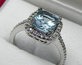 AAAAA Natural Blue Aquamarine Cushion cut   8x8mm  1.61 Carats   14K white gold Halo Ring set with .30 carats of diamonds HB88  1291
