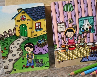 Home Postcards - set of 6, recycled note cards, yellow house, girl in kitchen, original illustrations