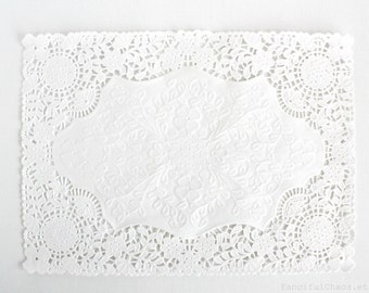 100 Rectangle White Paper Doily Doilies 10x14 inch