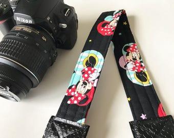 Camera Strap - dslr camera strap - minnie mouse camera strap - camera neck strap - disney camera strap