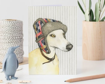 Dog note card - whippet card - greetings card - whippet art - watercolour dog card - blank card