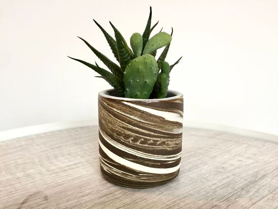 Ceramic mini planter- handmade succulent pot- brown and white- marbled clay
