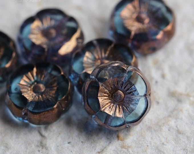 PRINCELY PANSIES No. 2 .. 6 Picasso Czech Glass Flower Beads 12mm (5760-6)