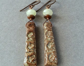 Earthy Rustic Ceramic Earrings, Grossular Green Garnet, OOAK Artisan, Long Lightweight Brown Dangle, Natural Gemstone Hypoallergenic Niobium