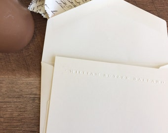Banner Embossed Name Stationery Notecards and Blank Envelopes | Printed by Darby Cards