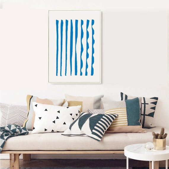 GRÈCE #003 // poster, Abstract art, 12x18, minimalist art print, geometric, mid century, Scandinavian style, blue, greece