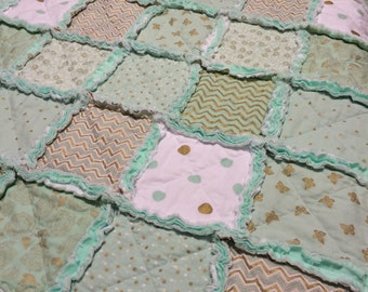 Mint Green and Gold Rag Quilt