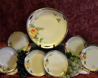 Antique Rosenthal Selb Bavaria Cake Plate and 6 Dessert Plates - Hand Painted Yellow Flowers with Sterling Silver Rim, Signed
