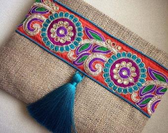 Bohemian Clutch, ethnic clutch, boho bag, clutch purse, women handbag, handmade gift, fall finds,