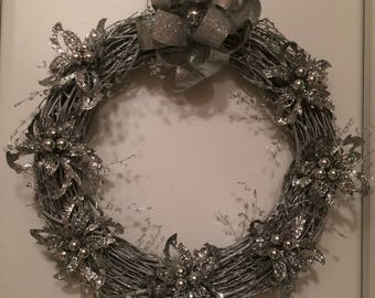 Christmas Wreath, Christmas Grapevine Wreath, Silver Christmas Wreath, Silver Grapevine Wreath, Silver Christmas Grapevine Wreath
