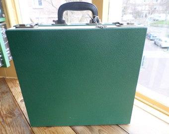 """Vintage Cheney 12"""" vinyl record case / platenkoffer / lp carry case / lp storage case / schalplattenkoffer, with keys 1960s"""