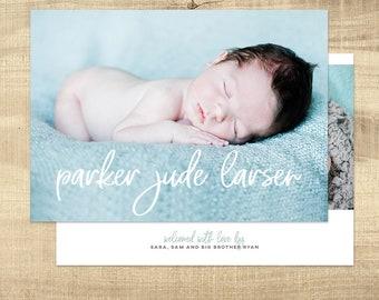 Birth announcement photo card, photo birth announcement, birth announcement, girl, boy, birth announcement, modern, PRINTABLE Digital card