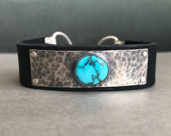Sierra Nevada Turquoise, Sterling Silver, & Leather Cuff Bracelet