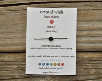 Chakra Wish Bracelet, Black Tourmailine, Base Chakra, Hemp, Crystal Healing, Meditation Bracelet, Yoga Bracelet, Intent, Friendship
