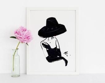 The Vintage Hat (Fashion Illustration Print) (Fashion Illustration Art - Fashion Sketch prints - Home Decor - Wall Decor )