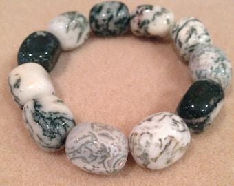 Tree Agate Nugget Bracelet, Tree Agate Bracelet, Beaded Bracelet, Bead Bracelet, Stretch Bracelet, Tree Agate Jewelry, Grounding Bracelets