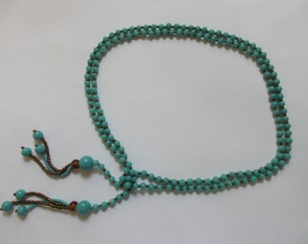 Opaque Turquoise Glass Bead, Long Lariat - Tie Necklace, Amber Glass and Micro Bead Tassel
