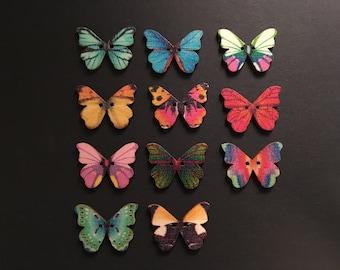 11 Wooden Butterfly Buttons, Journaling, Scrapbooking, Embellishment