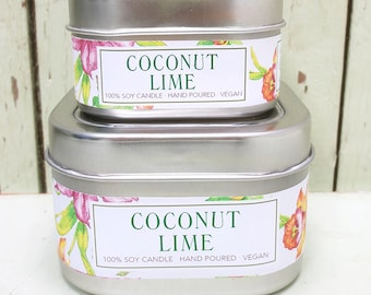 Coconut Lime Soy Candle 4 oz. - Green Daffodil Soy Candleworks - Handpoured - Siouxsan and Anne - C4