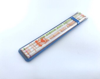 Cute kawaii vintage Japanese pencils set Kutsuwa SLIM in their original blue plastic pouch [For someone who's wonderful] [Japan stationery]