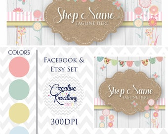 Timeline Banner FLORAL Shabby Chic Country Wood Facebook Cover Set Facebook Business Page Set - Digital Files