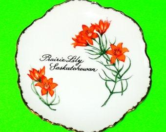 Vintage Saskatchewan Prairie Tiger Lily Souvenir Plate