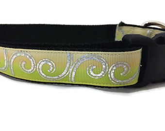 Dog Collar, Yellow Curls, 1 inch wide, adjustable, quick release, metal buckle, chain, martingale, hybrid, nylon