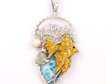One of a Kind Gold and Silver Fish Pendant with Larimar