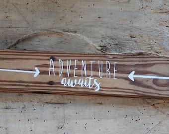 Adventure Awaits, Adventure Sign, Barnwood, Barnwood Décor, Baby Shower Gift, Nursery Décor, Rustic Nursery Art, Woodland Nursery