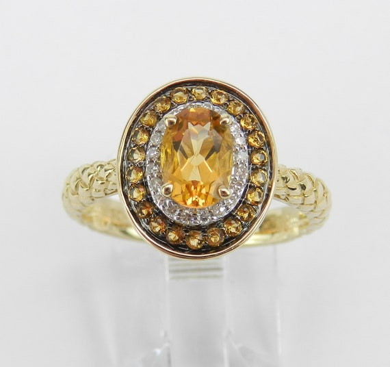 Citrine and Diamond Halo Engagement Promise Ring Yellow Gold Size 7 Textured November Birthstone