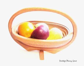 Handmade Collapsible Basket, Wood / Oval, Large Fruit Basket, Vintage Wooden Basket