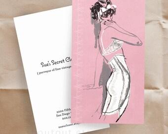 Business Cards - Vintage Lingerie - Fashion Illustration - Sixties - 100 Custom Cards