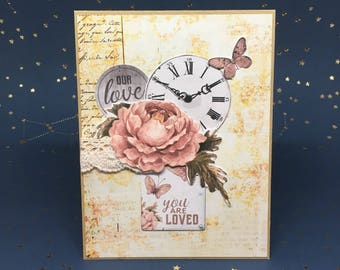 Valentines Day Card Handmade, Handmade Valentines Card, Anniversary Card, Love Card, Birthday Card, Embellished Greeting Card