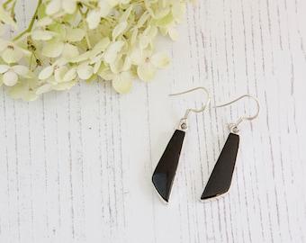Black Onyx Earrings - Silver Earrings - Dangle & Drop Earrings -   Gemstone Earrings - Black Onyx Silver Earrings - Handmade   Earrings