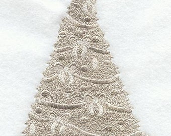 Sparkling Christmas Tree Embroidered Flour Sack Hand/Dish Towel