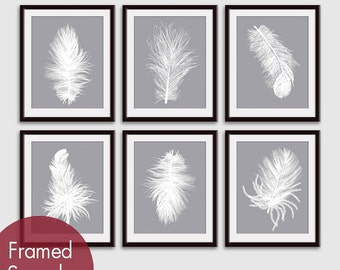 Feathers (Series A26) Set of 6 - Art Prints (Featured in White on Dolphin) Feather Wall Art