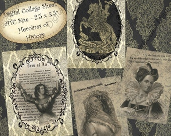 Instant Download Digital Printable Collage Sheet - Heroines of History - 2.5 x 3.5 size