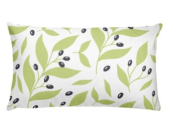 Rectangular Pillow with Blooming Green Flower Pattern All Around