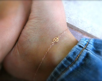 Tiny peace sign  ankle bracelet - rose gold - gold - silver - peace charm  -  peace symbol charm - charm anklet - 14K rose gold-filled