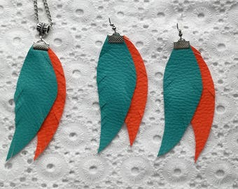 set necklace earrings feather necklace blue orange imitation leather
