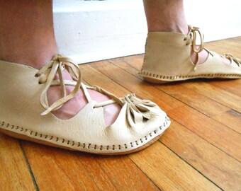 Medieval Sandal, Custom Made to Order, Soft Sole Sandal, Renaissance Faire, Handmade Leather Shoe, Woodland, Fairy, Enchanted, Festival