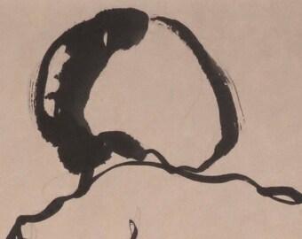 female figure, sumi Ink on rice paper, original painting,
