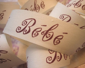 "10 Yards of Bebe Ribbon Cream and Burgundy (1"")"