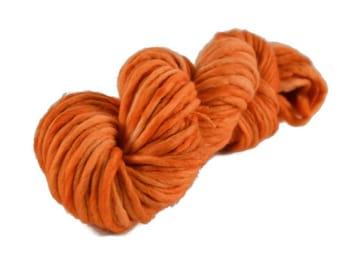 Bulky Yarn, Merino yarn, super bulky weight yarn, wool yarn, 100% Merino, orange, merino single ply, bulky single ply yarn - Carrot